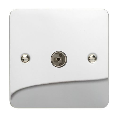Varilight XFC8 Ultraflat Polished Chrome 1 Gang Co-Axial TV Socket